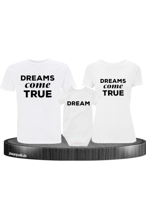 Dreams Come True Familienlook T-Shirts mit Baby-Body in weiß