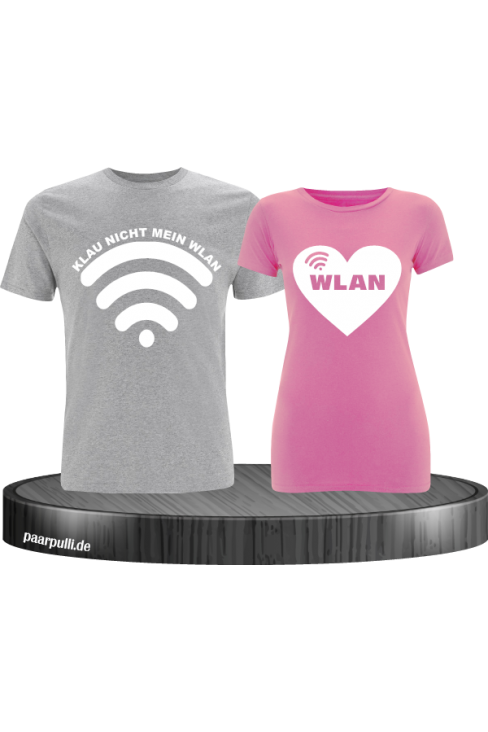 Partnerlook Shirts Klau nicht mein Wlan in grau rosa
