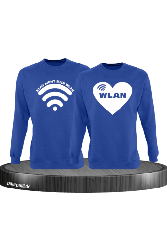 Klau nicht mein Wlan Partnerlook Sweatshirts in blau