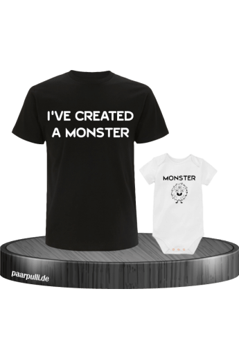 I have created a Monster Vater Kind Partnerlook T-Shirts in schwarz weiß