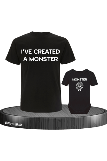 I have created a Monster Vater Kind Partnerlook T-Shirts in schwarz