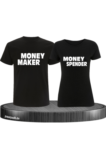Money Maker und Money Spender als Partnerlook T-Shirts