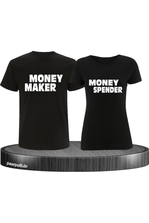 Money Maker Money Spender Partnerlook T-Shirts in schwarz
