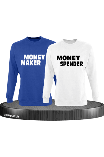 Money Maker und Money Spender als Partnerlook Sweatshirts