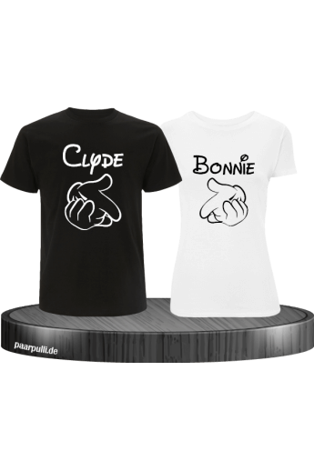 Bonnie und Clyde Partnerlook T-Shirts mit Comic Design cooles Set in schwarz weiß