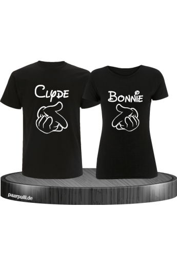 Bonnie und Clyde Partnerlook T-Shirts mit Comic Design cooles Set in schwarz