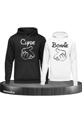 Bonnie und Clyde Partnerlook Hoodies mit Comic Design cooles Set in schwarz weiß