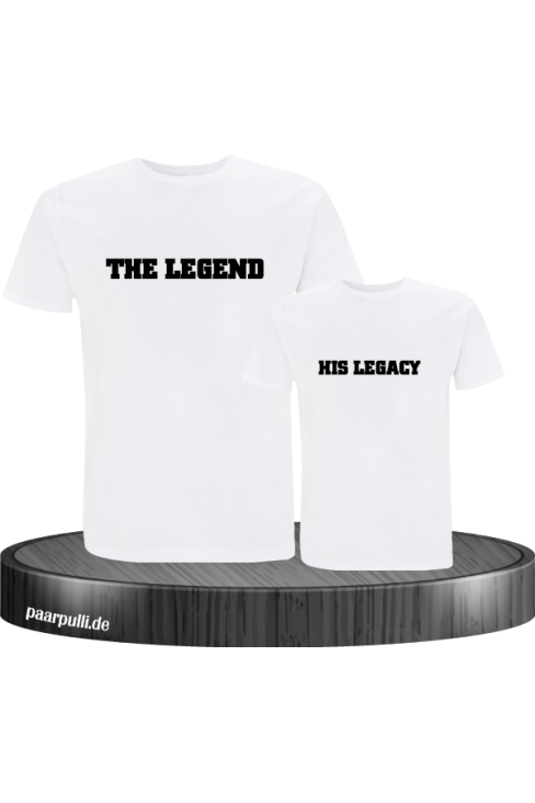 The Legend and His Legacy Vater Sohn Partnerlook Design in weiß