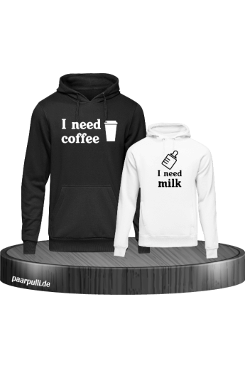 I need Coffee und I need Milk Mutter Kind Partnerlook Hoodies in schwarz weiß