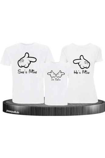 Shes Mine hes Mine im theirs Familienlook T Shirts in weiß