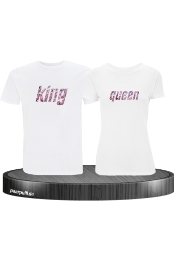 King Queen Partner-Shirt Blumenmuster