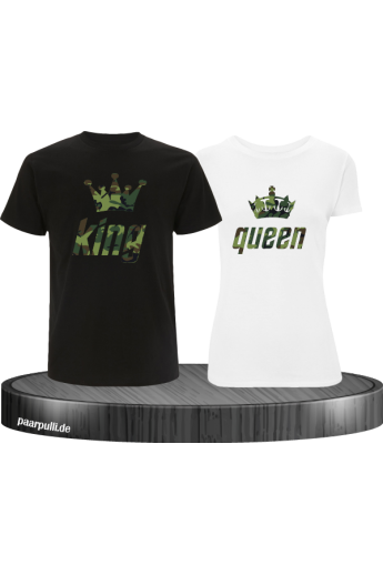 King Queen Partner-Shirt Camouflage Schrift