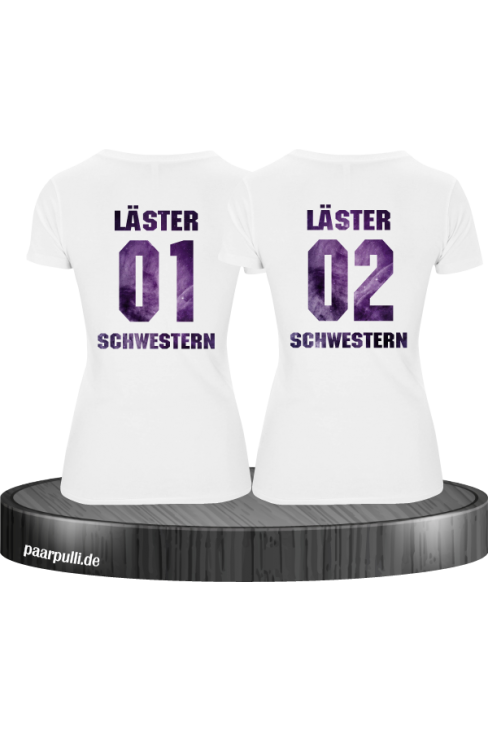 Läster Schwestern Partnerlook Set in weiß