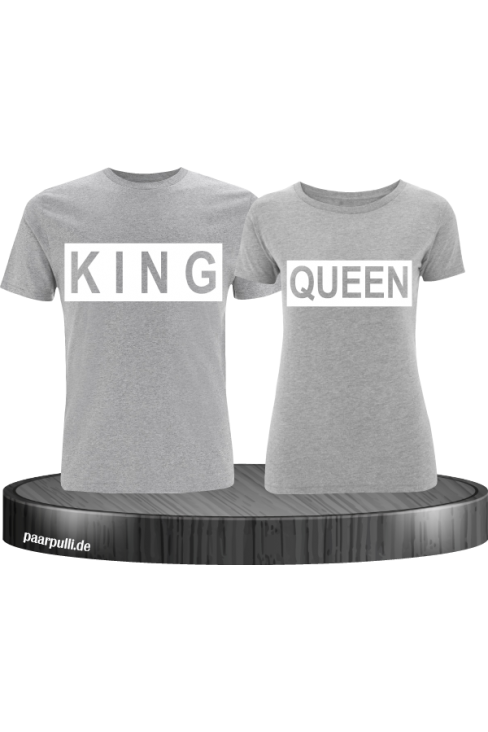 King Queen im Kasten auf graue T-Shirts bedruckt Partnerlook