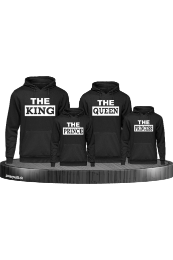 The King, The Queen, The Prince und The Princess Familienlook Hoodies