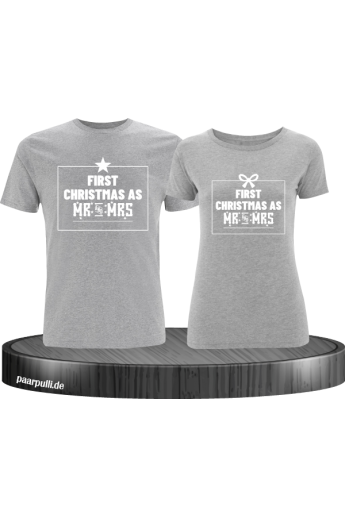 First Christmas as Mr and Mrs Weihnachten Partnerlook T-Shirts in grau