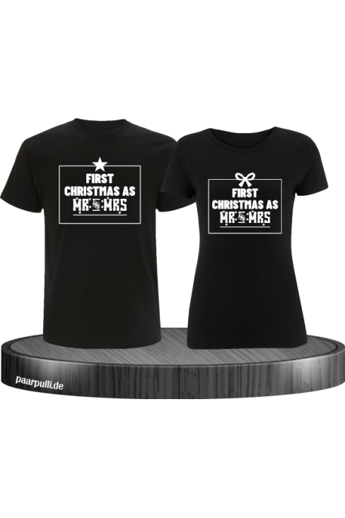 First Christmas as Mr and Mrs Weihnachten Partnerlook T-Shirts in schwarz