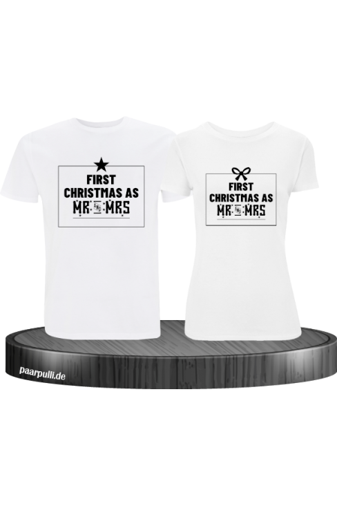 First Christmas as Mr and Mrs Weihnachten Partnerlook T-Shirts in weiß