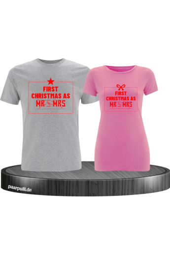 First Christmas as Mr and Mrs Weihnachten Partnerlook T-Shirts in rot grau rosa