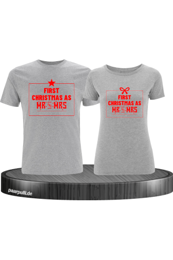 First Christmas as Mr and Mrs Weihnachten Partnerlook T-Shirts in rot grau