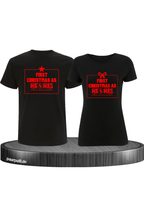 First Christmas as Mr and Mrs Weihnachten Partnerlook T-Shirts in rot schwarz