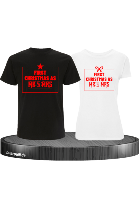 First Christmas as Mr and Mrs Weihnachten Partnerlook T-Shirts in rot schwarz weiß