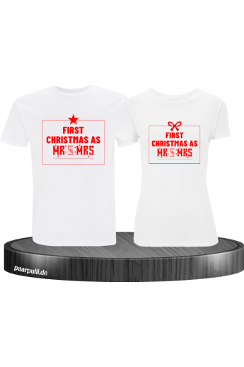 First Christmas as Mr and Mrs Weihnachten Partnerlook T-Shirts in rot weiß