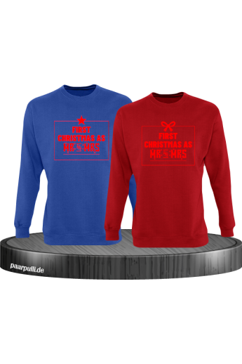 First Christmas as Mr and Mrs Weihnachten Partnerlook Sweatshirts in blau rot rot