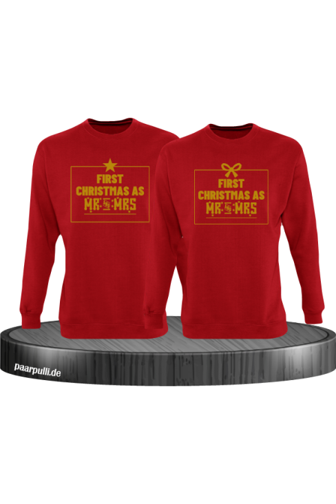 First Christmas as Mr and Mrs Weihnachten Partnerlook Sweatshirts in rot gold