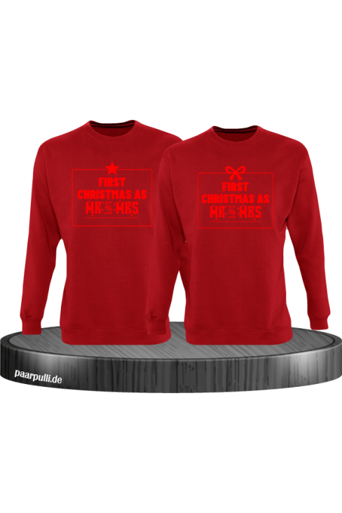 First Christmas as Mr and Mrs Weihnachten Partnerlook Sweatshirts in rot rot