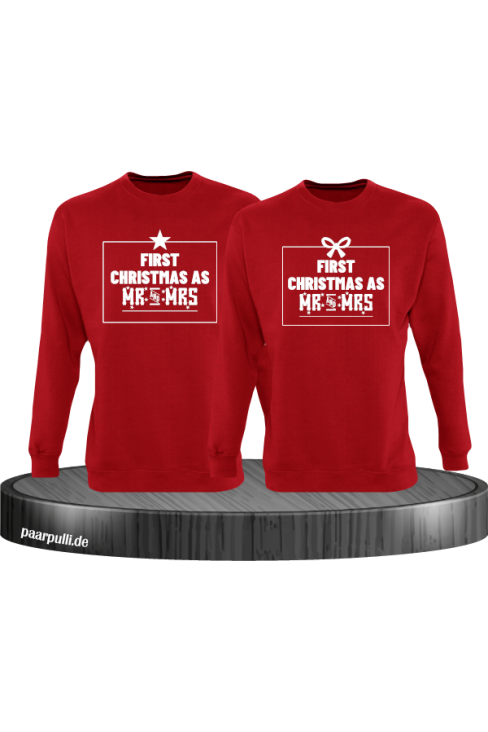 First Christmas as Mr and Mrs Weihnachten Partnerlook Sweatshirts in rot