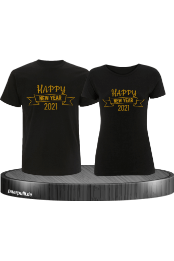 Happy New Year 2021 partnerlook shirts schwarz gold