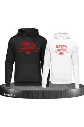 Happy New year 2021 Hoodies in schwarz weiß rot