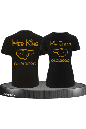 Her King & His Queen Comic Design mit Wunschdatum Partner-Shirts