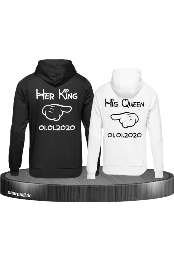 Partnerlook Her King & His Queen Comic Design mit Wunschdatum Hoodies