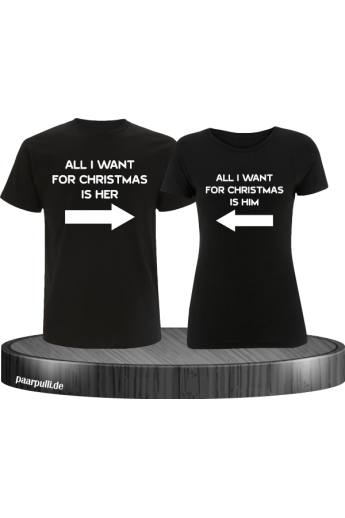 All i want for Christmas Partnerlook T-Shirts in Schwarz