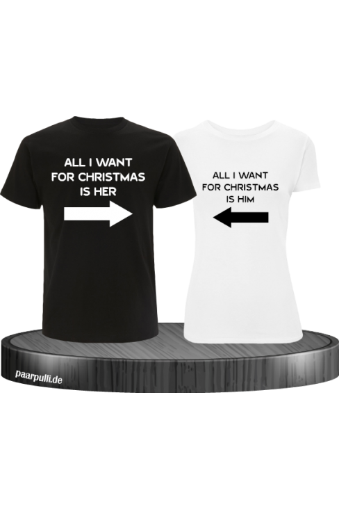 All i want for Christmas Partnerlook T-Shirts in Schwarz weiß