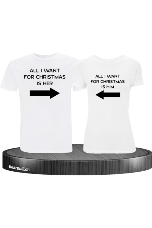 All i want for Christmas Partnerlook T-Shirts in weiß