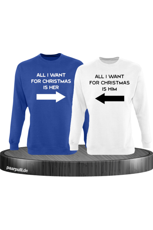 All i want for Christmas Partnerlook Sweater in blau weiß