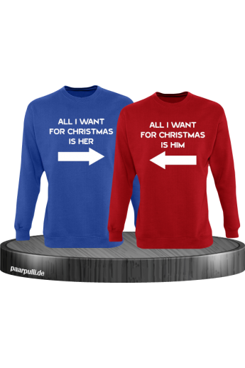 All i want for Christmas Partnerlook Sweater in blau rot