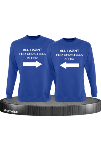 All i want for Christmas Partnerlook Sweater in blau