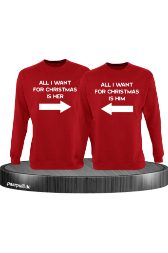 All i want for Christmas Partnerlook Sweater in rot