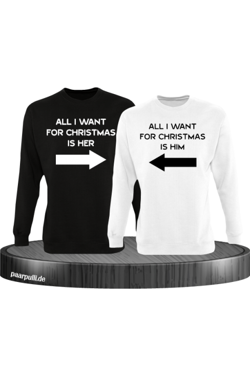 All i want for Christmas Partnerlook Sweater in schwarz weiß