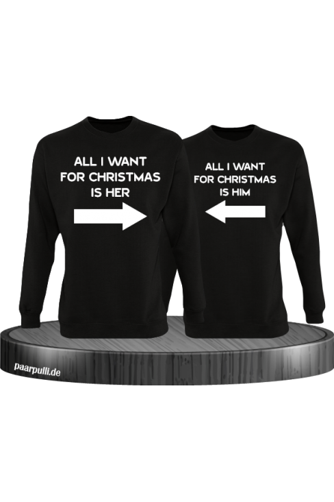All i want for Christmas Partnerlook Sweater in schwarz