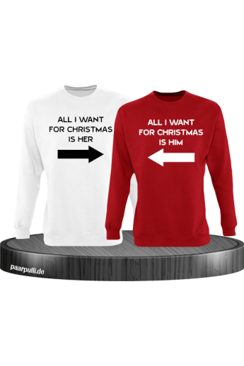 All i want for Christmas Partnerlook Sweater in weiß rot