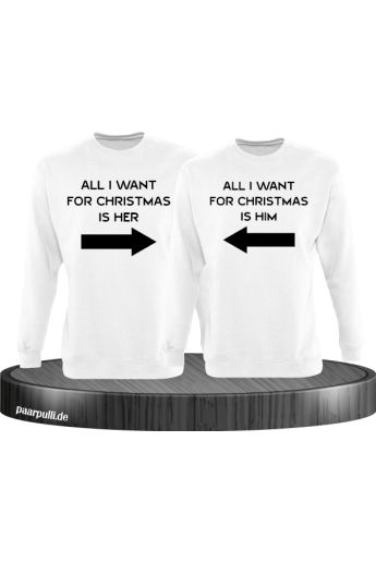 All i want for Christmas Partnerlook Sweater in weiß