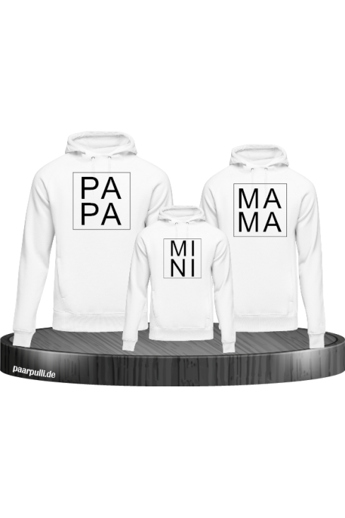 Papa Mama Mini hoodies Familienlook in weiß
