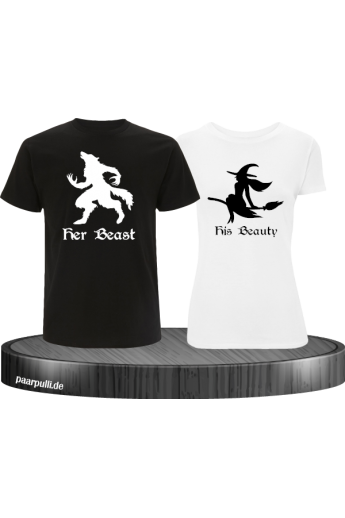 her Beast und his Beauty mit Werwolf und Hexe Halloween Partnerlook T-Shirts