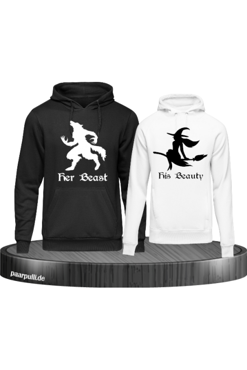 her beast his beauty partnerlook hoodies in schwarz weiß