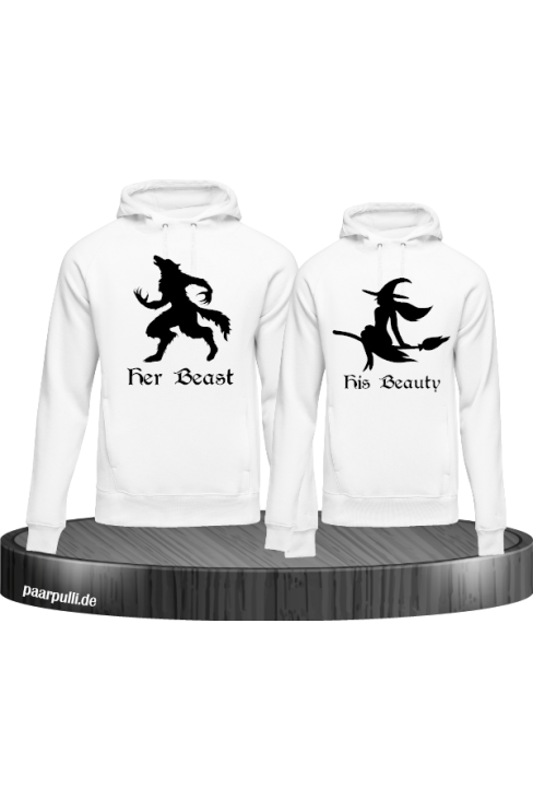 her beast his beauty partnerlook hoodies in weiß